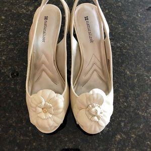 Light beige high heels shoes